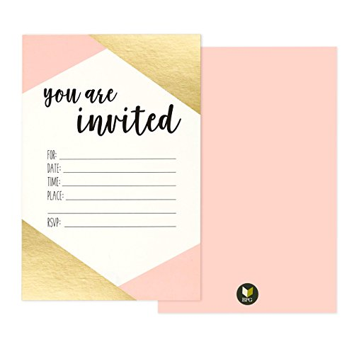 36-Pack-Pink-and-Gold-Foil-You-Are-Invited-Minimalist-Party-Invitation-Card-Set-Shabby-Chic-Novelty-Invites-for-Birthdays-Bachelorette-Parties-Envelopes-Included-4-x-6-Inches