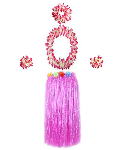 Hawaiian Luau Hula Grass Skirt Large Flower Costume Set Dance Performance Party Decorations Favors Supplies (32