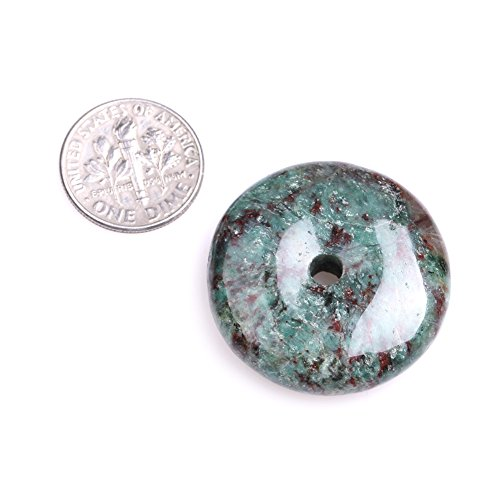 Natural Ring Circle Donuts Beads for Jewelry Making 1 Piece (30mm/Green Australia Blood -