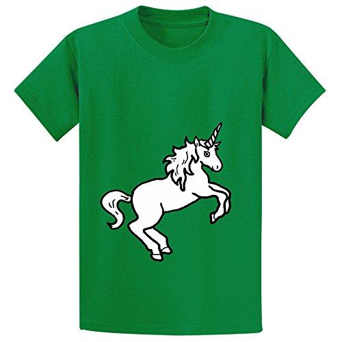 Mcol Unicorn White Boys' Crew Neck Personalized Shirts Green (Pin Up Dolls Tattoos)
