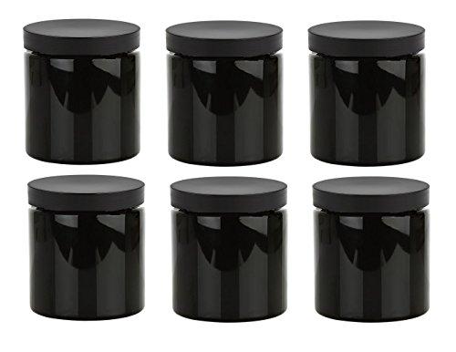Plastic Jars with Black Lids - Set of 6 ()