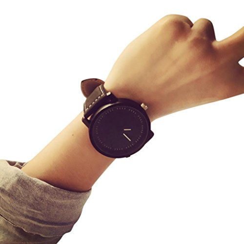 Clearance! Napoo Men Women Big Face Round Dial Quartz Analog Simple Wrist Watch (Black)