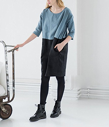 lunghezza al 2XL top cotone Abito tasche 3 fit S estivo Blu donna loose manica Nero colori con ginocchio 4 8 lino in Spwfxq0S