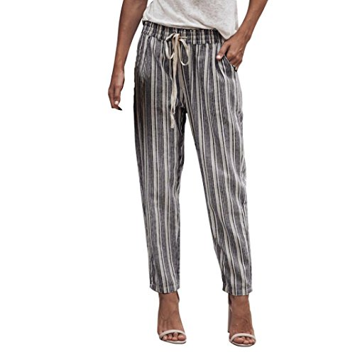 Pants For Women, vermers Striped Printed Drawstring Elastic Pencil Long Trousers(M, Black)