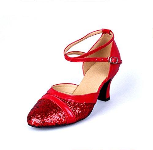 Meijili - Zapatillas de danza para mujer Red