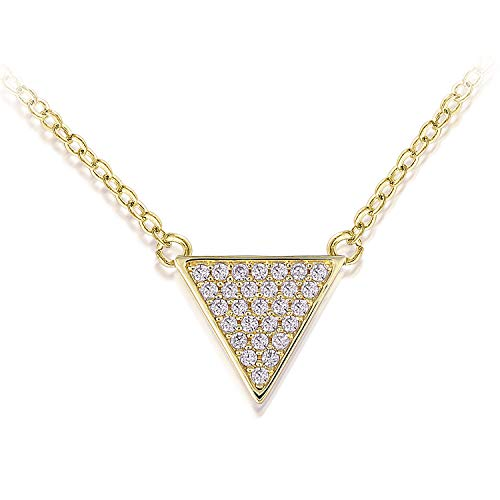 QUINBY Triangle Necklace Rose Gold-Plated Pendant with Pave Cubic Zirconia (Crystal Pave Pendant Necklace)