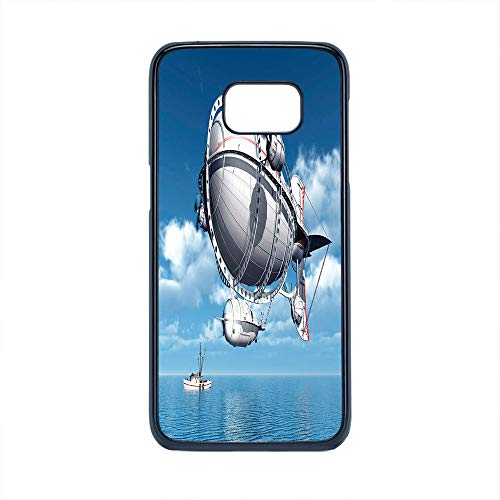 Cell Phone Case Compatible Samsung Galaxy S7 Edge,Zeppelin Decor - Hard Plastic Phone Case/Black - Giant Aircraft Over The Sea Flying Cloudy Sky Adventure Journey Image