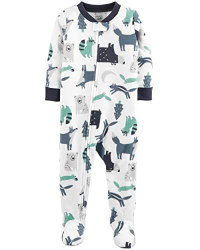 Carter's Baby Boy's 12M-5T One Piece Fleece Pajamas, Woodland Creatures, 18 Months