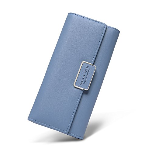 Women Wallet Soft Leather Designer Trifold Multi Card Organizer Lady Clutch blue