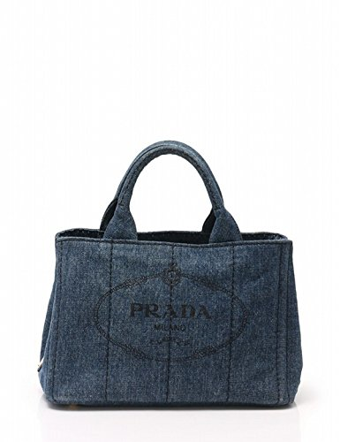Prada Women's Denim Jacquard Top Handle Handbag 1BG877 (Prada Blue Handbag)