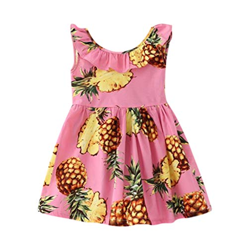 Kintaz Infant Toddler Baby Girl Pineapple Bow Sleeveless Backless Princess Dress (5-6 Years, Pink)