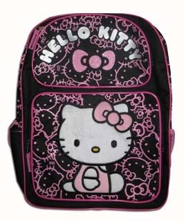 Sanrio Hello Kitty Large Backpack - Black with Pink Glitter ()