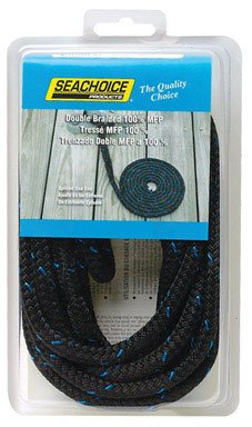 Wellington Cordage 83933 3/8-Inch X 15-Ft. Red Chafe Guard Splice Solid Braid Dock Line With 10-Inch Eye Rope, Nylon