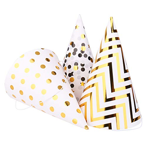 Boieo Gold Birthday Party Hats, 12 pcs Assorted -