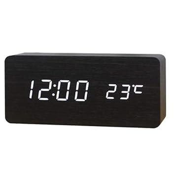 Alivier Despertador Digital de Madera Activado por un Reloj Despertador multifunción de Temperatura táctil o de Sonido: Amazon.es: Hogar