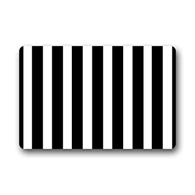 Custom Black White Stripe Door Mats Cover Non-Slip Machine Washable Outdoor Indoor Bathroom Kitchen Decor Rug Mat