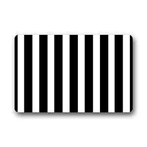 Custom black white stripe door mats cover non for Black and white striped bathroom accessories