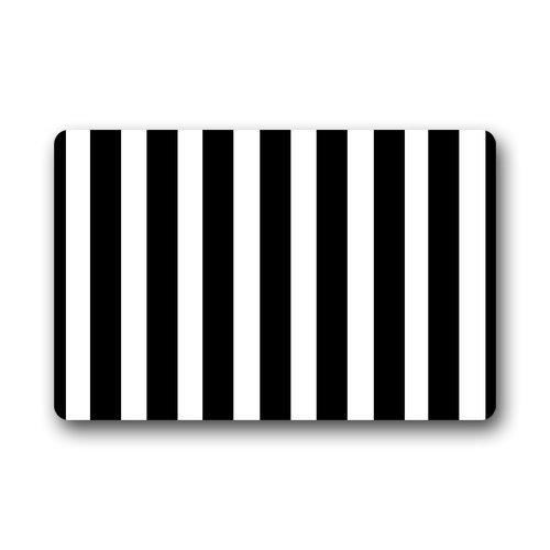 Amazon.com: Custom Black White Stripe Door Mats Cover Non Slip Machine  Washable Outdoor Indoor Bathroom Kitchen Decor Rug Mat: Patio, Lawn U0026 Garden