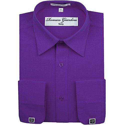 Roman Giardino Men's Dress Shirt Sugar Plum Purple Long Convertible Sleeve Collar Machine Washable Free Cufflink 17.5 32/33