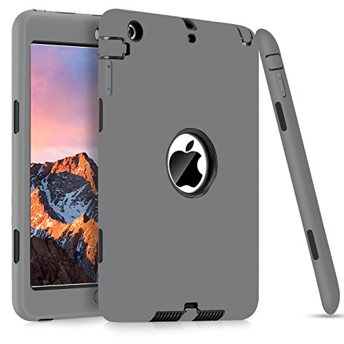iPad Mini Case for Apple iPad Mini 3/2/1, DUEDUE Heavy Duty Rugged Shockproof Full-body Protective 3 in 1 Hybrid Hard PC Bumper Soft Silicone Cover for iPad Mini 1/ Mini 2/ Mini 3, Gray&Black