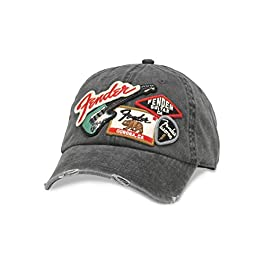 AMERICAN NEEDLE Iconic Fender Electric Guitar Baseball Dad Hat (FEND-1905A-BLK) Black