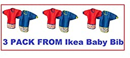 Ikea Baby Bib Set with Sleaves-kladd Prickar - 3 Sets of 2
