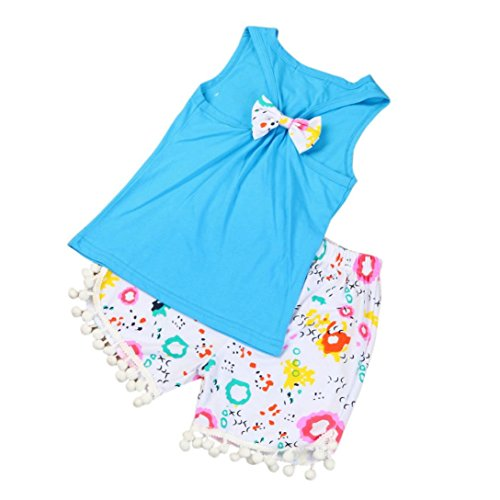 kaifongfu Kids Clothes Summer Infant Baby Girls Bow Tops T-Shirt+Shorts Clothes Outfits Beach Set