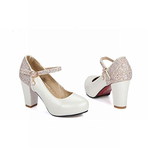 Carolbar Mujeres Sequins Hebilla Fiesta Tacón Alto Nupcial Mary Janes Zapatos Blanco
