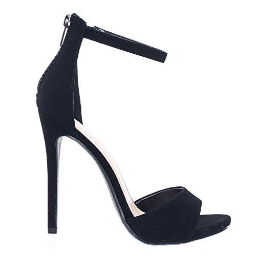 High Heel Stiletto Open Toe Dress Sandal w Ankle Strap Black 8hFJS