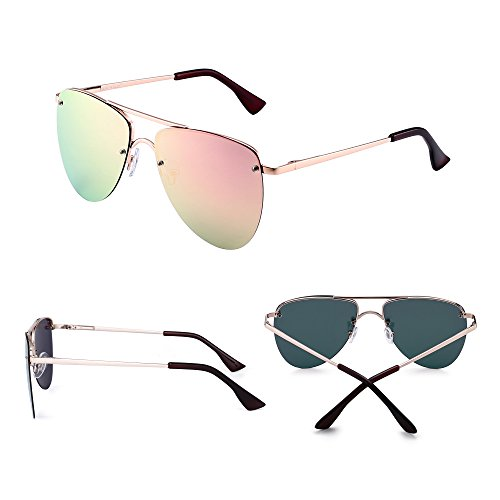 Sin Bisagras Espejo Gafas Lentes Hombre Mujer Dorado Planos de Rosa Resorte Polarizado de Sol de Polarizadas Reflejado Aviador Marco wx8wtnAvqS