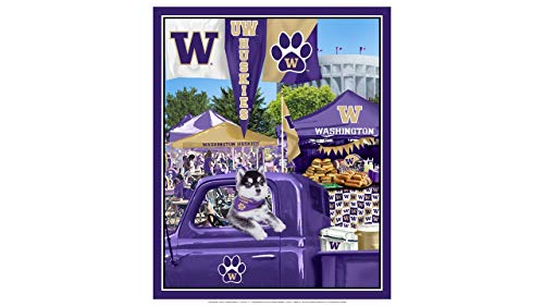 (University of Washington Cotton Fabric Panel with Tailgate Design-Sold by The Panel)