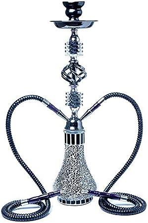 HUANGRONG Vidrio Hookah Shisha árabe Copa Sheesha Chicha Fumar Accesorios for Hokkah Shisha cachimba Conjunto Doble Humo de la Pipa Shisha (Color : Black)