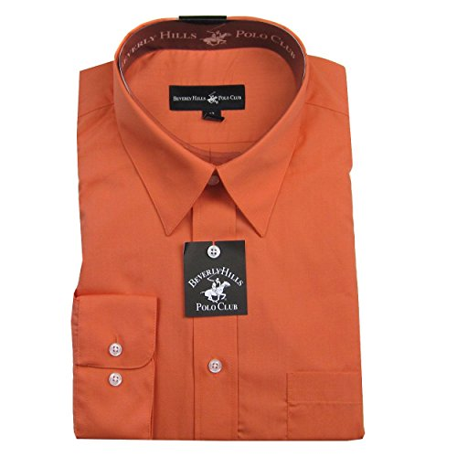 Coral Solid Mens Dress Shirt by Beverly Hills Polo Club