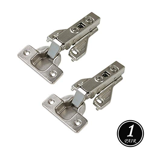 Soft Close Kitchen Cabinet Hinges, 105 Degree Opening Angle Full Overly Clip On Face Frame Mounting Concealed Hinges, Satin Nickel Heavy Duty Cabinet Hinges 1 Pair ()