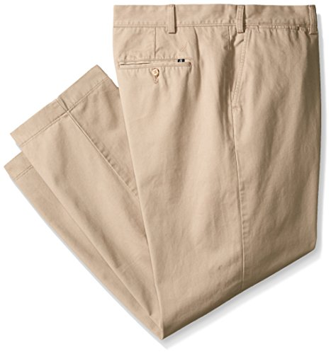 Cotton Twill Flat Front Pants (Nautica Men's Big-Tall Big and Tall Cotton Twill Flat Front Pant, True Khaki, 46W 32L)