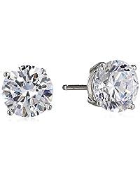 Sterling Silver Round Cut Cubic Zirconia Stud Earrings