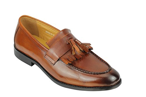 Mens Brown Real Leather Tassel Loafers Kilted Fringe Slip on Shoes 1920s Retro [UK 9 EU 43,Coffee] -