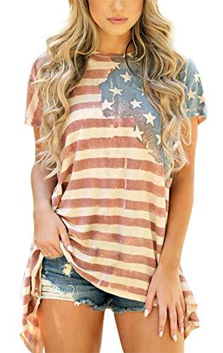 Womens American Flag Shirt Short Sleeve USA 4th of July Flag Top Loose T-Shirts