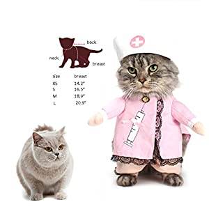 NACOCO Dog Cat Nurse Costume Pet Nurse Clothing Halloween Jeans Outfit Apparel (S)