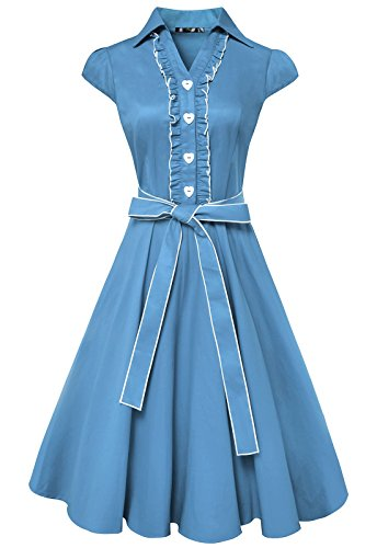 [Anni Coco Women's 1950s Cap Sleeve Swing Vintage Party Dresses Sky Blue Medium] (1950 Dress)