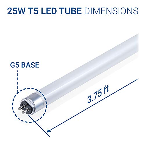 Hyperikon T5 LED Light Tube, 3.75FT, Dual-End Powered, Ballast Compatible, 25W (55W equivalent), 3500 Lumens, G5 Base, 5000K, Frosted, CRI84+, 185°, Shatterproof, Commercial, DLC & UL (Pack of 25) by Hyperikon (Image #6)