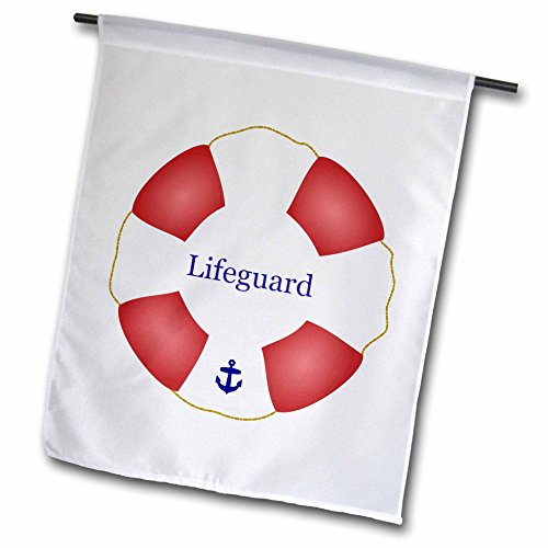 Life Preserver Hanging - 3dRose fl_112970_1 Lifeguard Lifesaver Swimming Pool Life Saver Preserver-Sea Beach Life Guard Red and White Float Garden Flag, 12 by 18-Inch