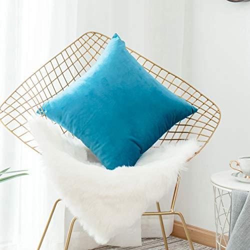 (HOME BRILLIANT Soft Solid Velvet Euro Sham Pillowcase Cushion Cover for Patio Sofa Living Room, 26
