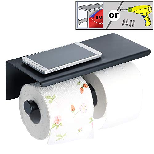 Alise GYT880-B Double Toilet Paper Holder Bathroom Tissue Roll Holder with Shelf,2 Installation of 3M Self-Adhesive and Wall Drill,SUS304 Stainless Steel Matte Black