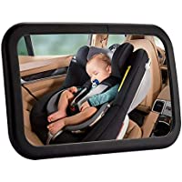 Amouhom Baby Mirror for Car, Rear View Baby Mirror, Easily Watch Your Precious Child in-Car, Wide Field of View, Shatter-Proof, Best Newborn Car Seat Accessories.