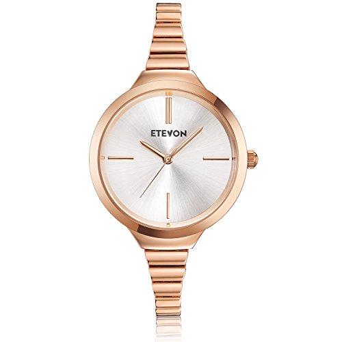 (ETEVON Women's Quartz Simple Rose Gold Watch with Slim Bracelet, Fashion Watches for Women Ladies)