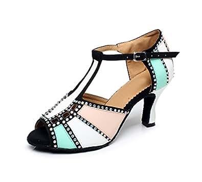 Miyoopark QJ6211 Women's Color Block Green Latin Salsa Dance Shoes AU 2