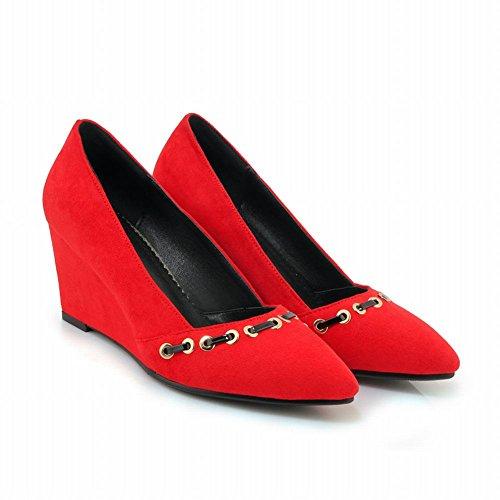 Mee Shoes Damen Keilabsatz Nubukleder Geschlossen Pumps Rot