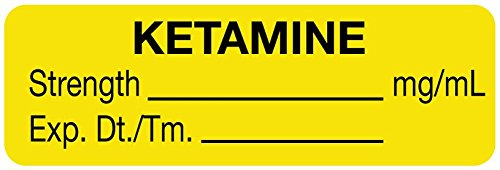 MedValue Anesthesia Label, Ketamine mg/mL, 1-1/2'' x 1/2'', Yellow - 610 Label Per Roll