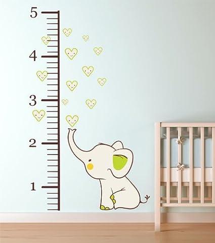 Amazon com growth chart wall decal baby elephant nursery vinyl